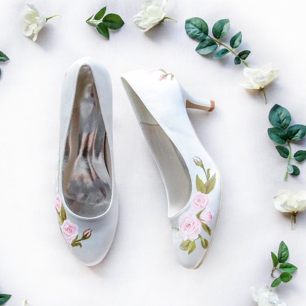 Rose Garden & Lily of the Valley heels - Pink miniature roses and lily of the valley flowers handpainted on ivory satin heels.