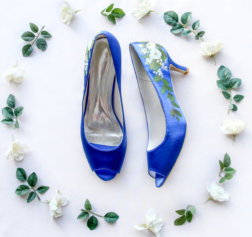 Royal Blue Satin & White Ranunculus - Handpainted Royal blue satin peeptoe heels with white ranunculus and green leaves