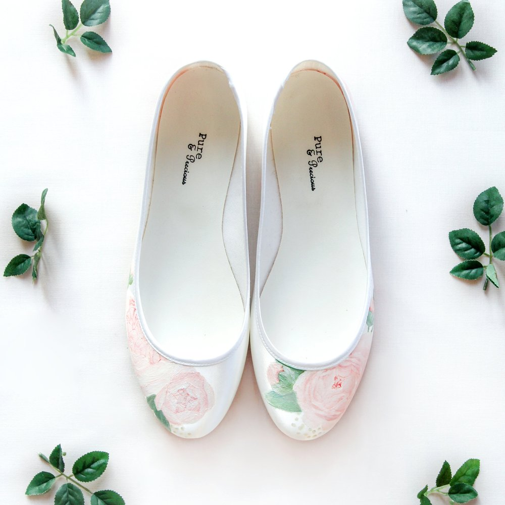 Pink Peony & Lambs leaf ballerina satin flats - Handpainted pale pink peony flowers with pale green lambs leaf on flat satin pumps