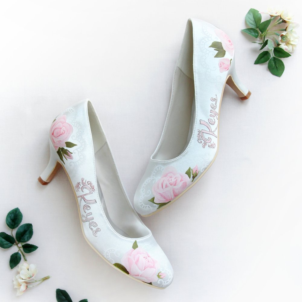 Pink Rose Personalised Name Wedding Shoes - Hand-painted pink rose and delicate lace design, personalised with married names