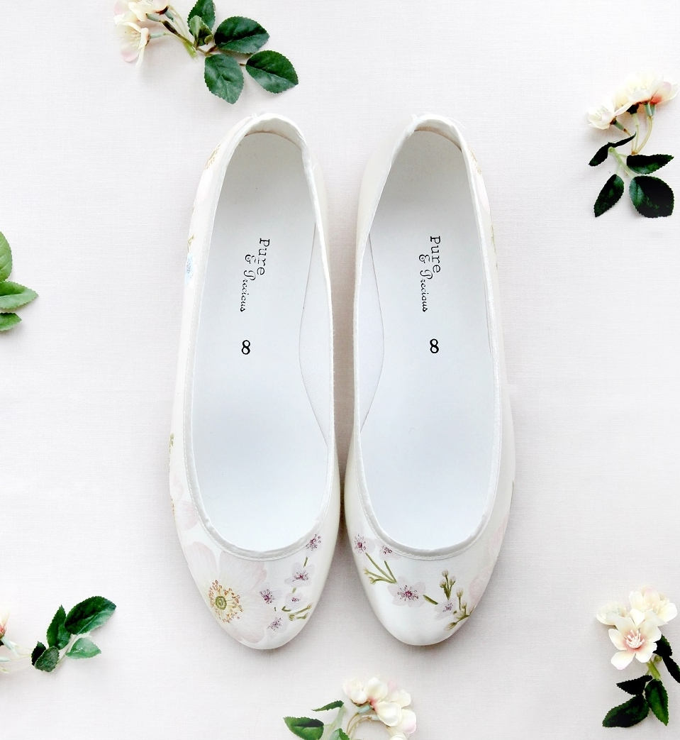 Cherry Blossom & Pink Rose Flats - Hand-painted cherry blossom print flat wedding shoes, with pink rose details