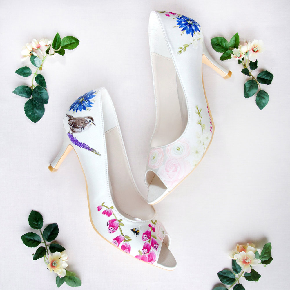 Bird print and wildflower peeptoe wedding shoes