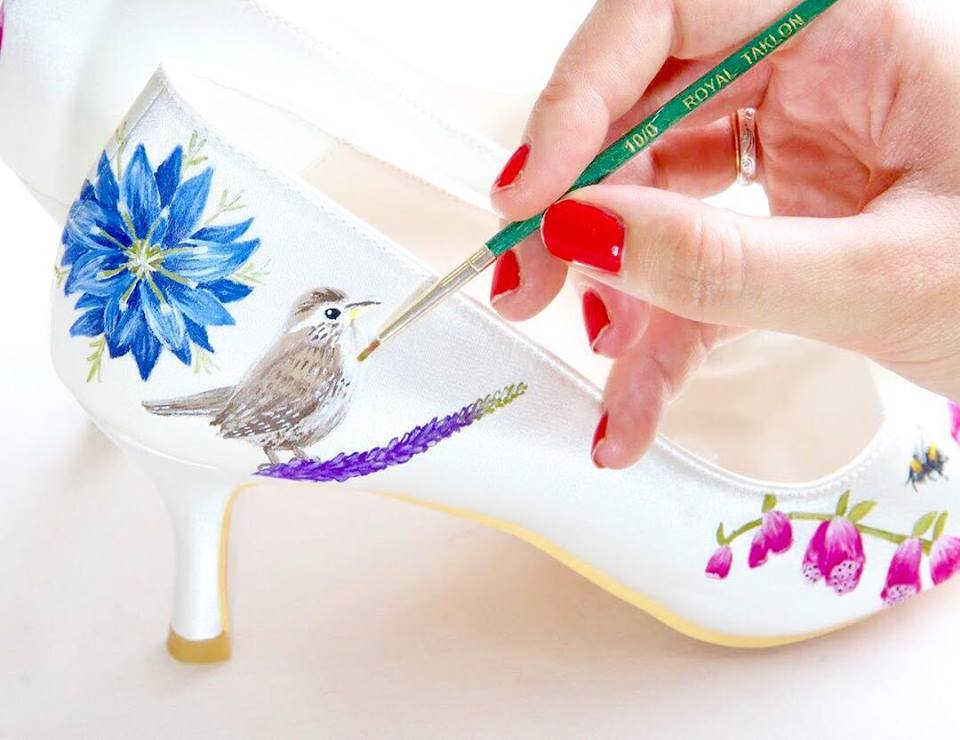 bird print floral wedding shoes