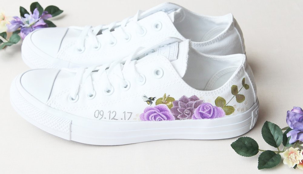 Purple Rose, succulent and bumble bee print wedding trainers