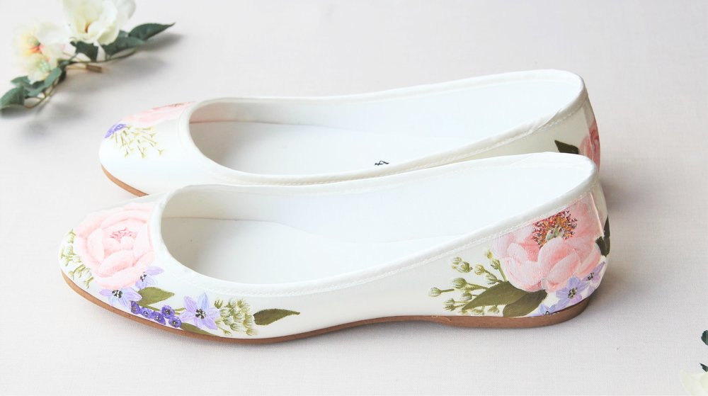 Rose print flat abllerina pumps wedding