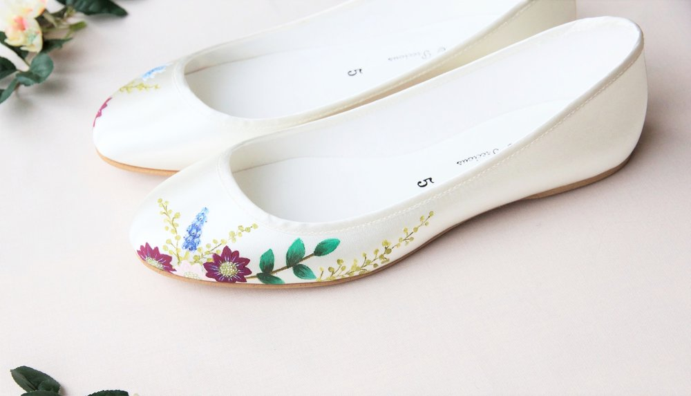 Wildflower handpainted flat wedding shoes