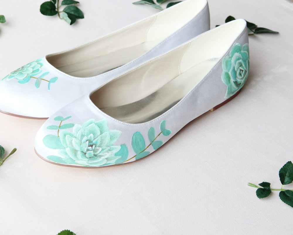 succulent and eucalyptus handpainted flat wedding shoes