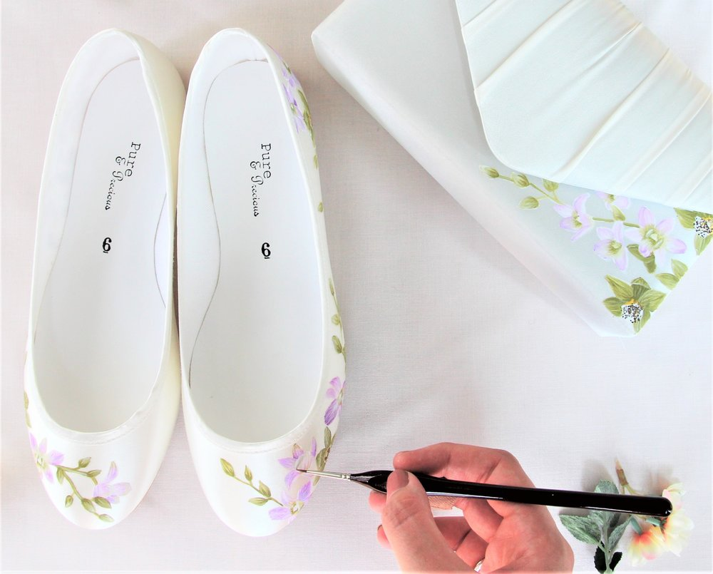 handpainted orchid flat wedding shoes