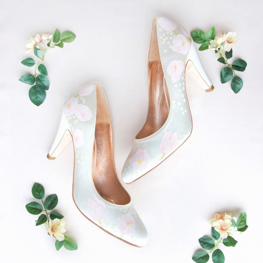 tulip handpainted wedding shoes