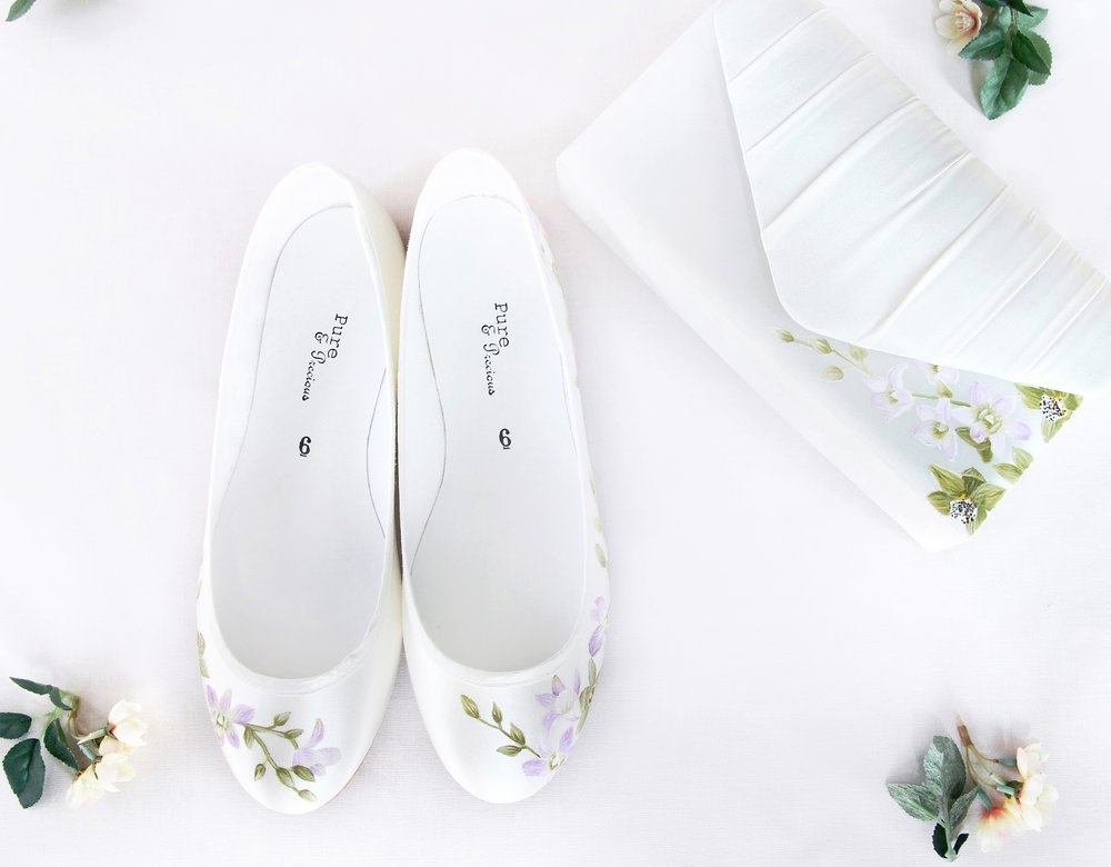 orchid floral handpainted flat wedding shoes with matching clutch bag