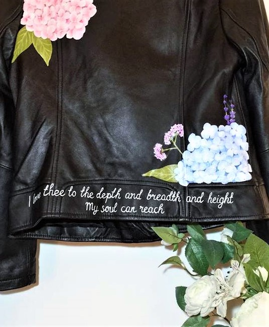 Personalised Leather Jacket handpainted floral lyrics Wedding jacket