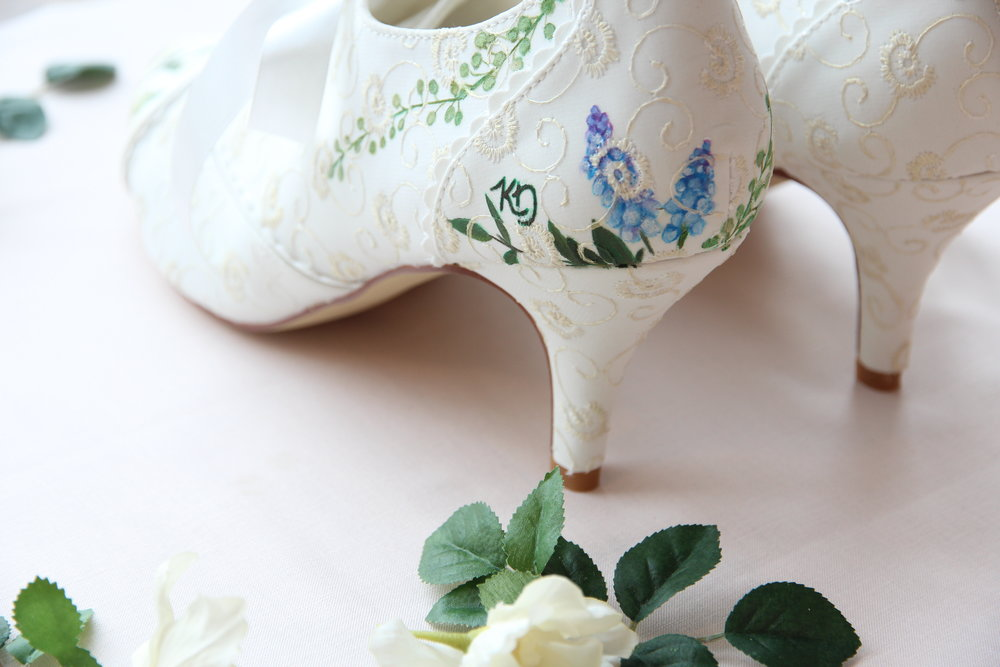 monogrammed personalised wedding shoes
