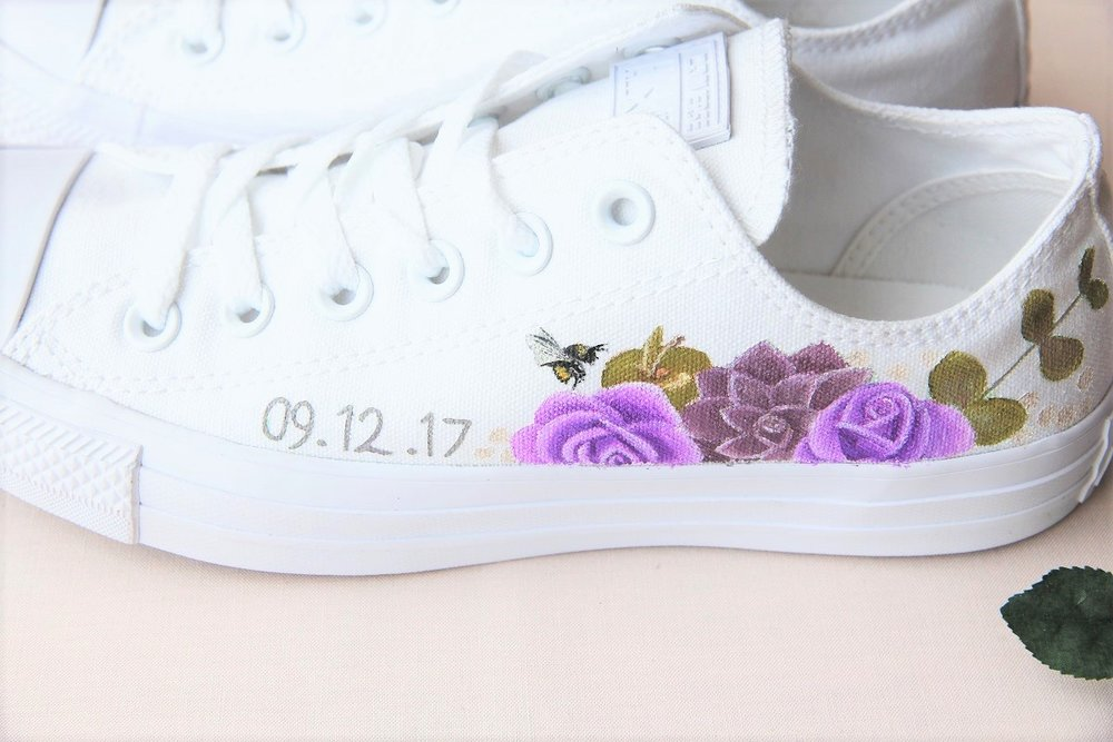 handpainted wedding sneakers trainers with wedding date