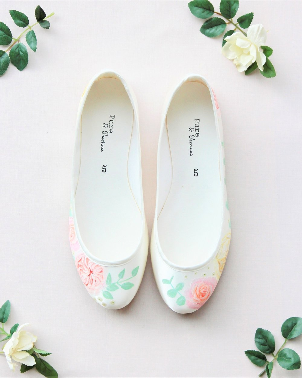 Garden Rose & Eucalyptus Satin Flats - Hand-painted David Austin, patience and miss piggy rose satin flat shoes, with eucalyptus detals.