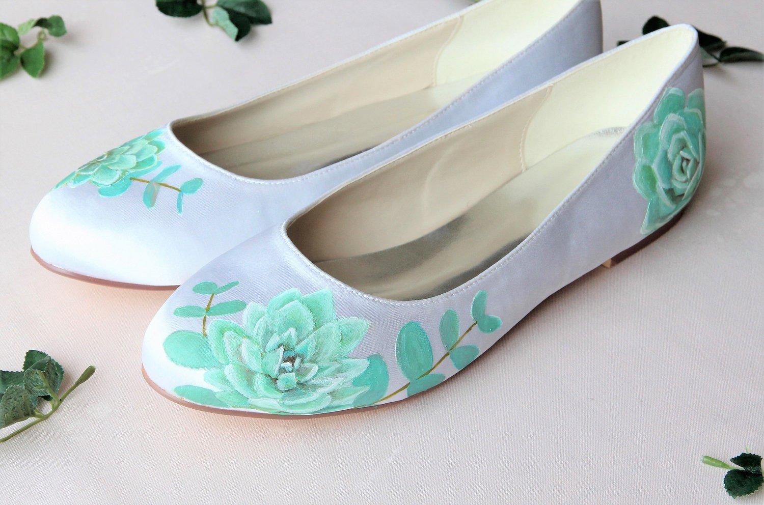 b872f43ebba740 Succulent and silverleaf eucalyptus handpainted custom flat wedding shoes