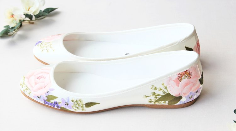 9d9b92e368fd Hand-painted floral flat satin ballerina ivory wedding shoes Pink Peony    Gypsophila