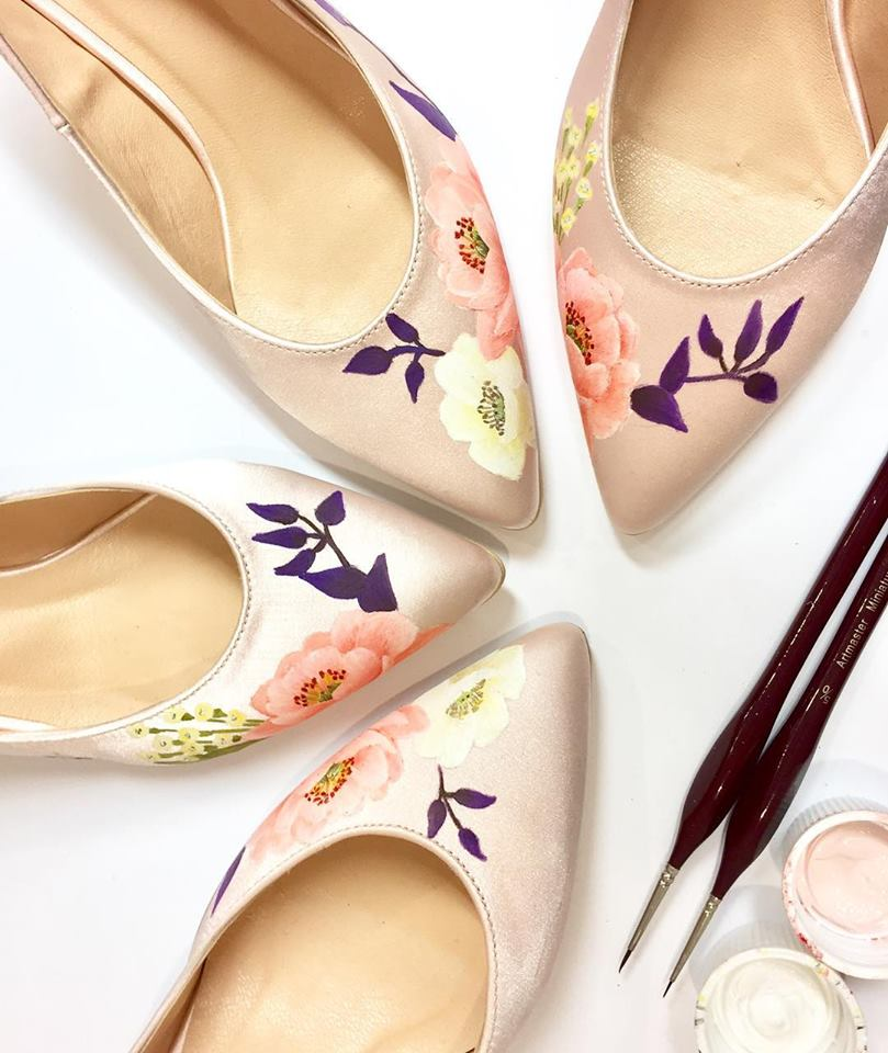 blush satin wedding shoes
