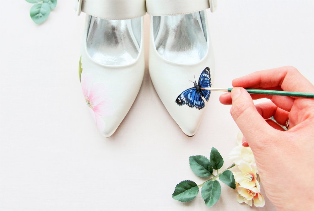 butterfly print handpainted satin low heel wedding shoes