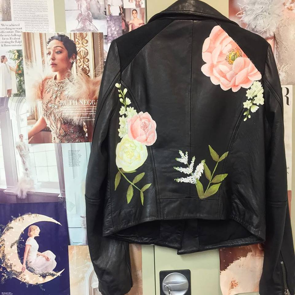 pink peony print floral leather jacket wedding