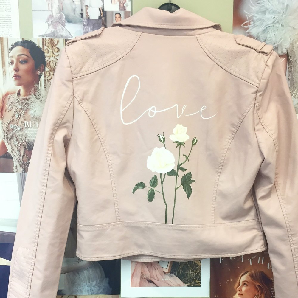 f5ad6e3c1c6 blush pink leather jacket hand painted floral print