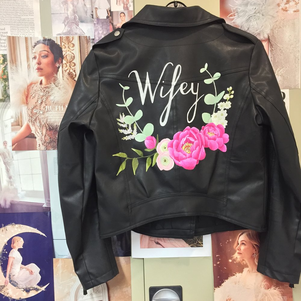 Hand painted wedding leather jacket wifey pik peony print, eucalyptus flowers
