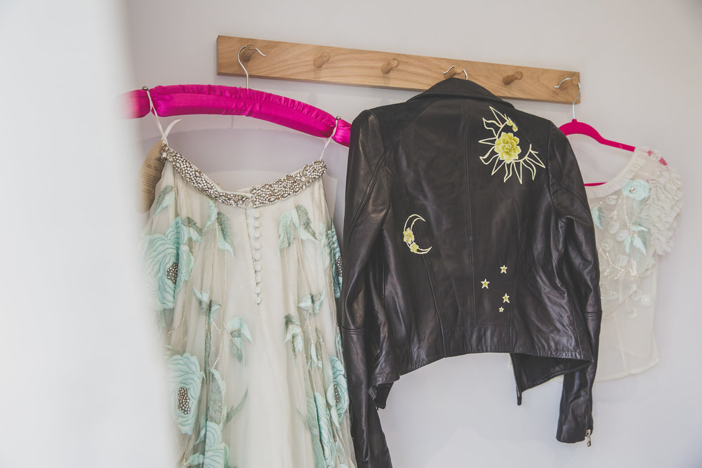 Nicki Shea Photography Bowen Dryden Separates     Elizabeth Rose Hand painted succulent design bridal leather jacket