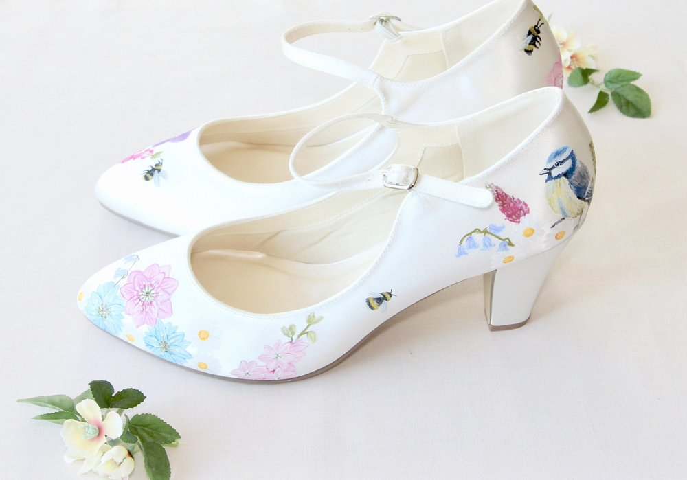 hand painted bee print wedding shoes with pink floral print