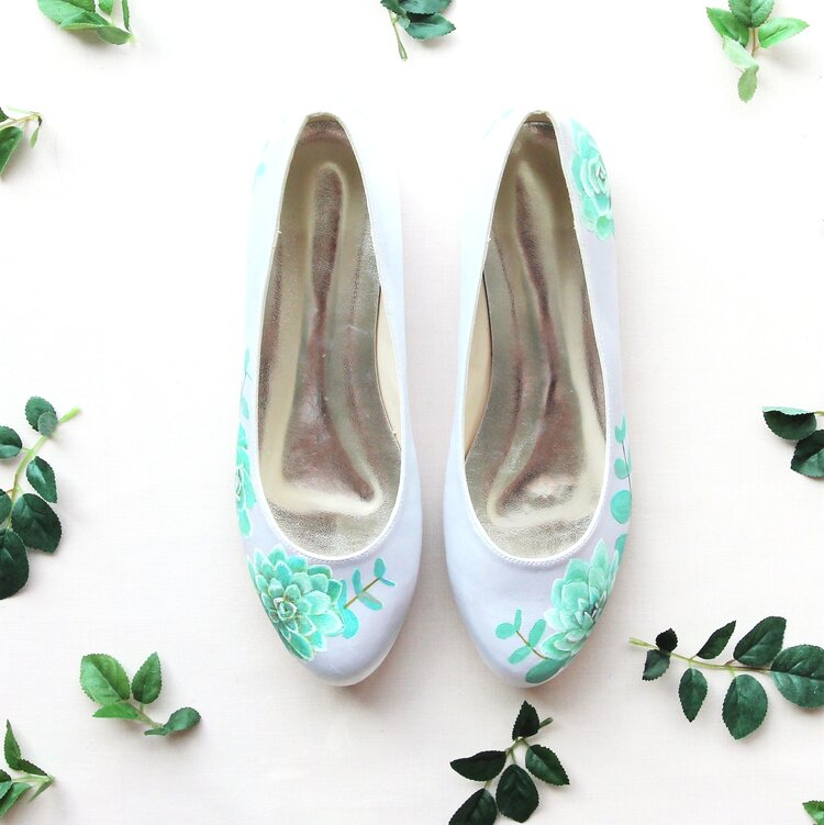 317de085a9174f Succulent and silverleaf eucalyptus handpainted custom flat wedding ...