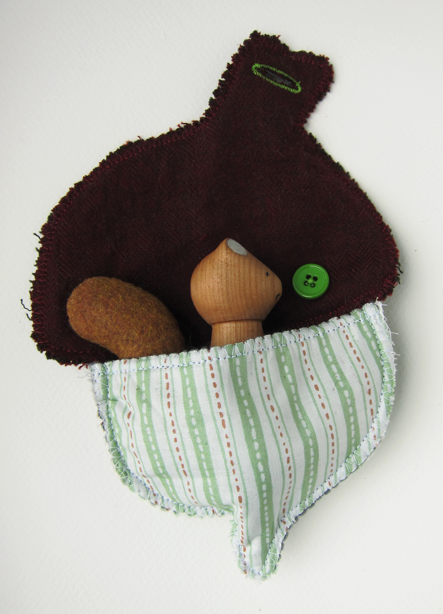 Acorn Pouch with Button Closure for Hanging (and Sammy the Squirrel)