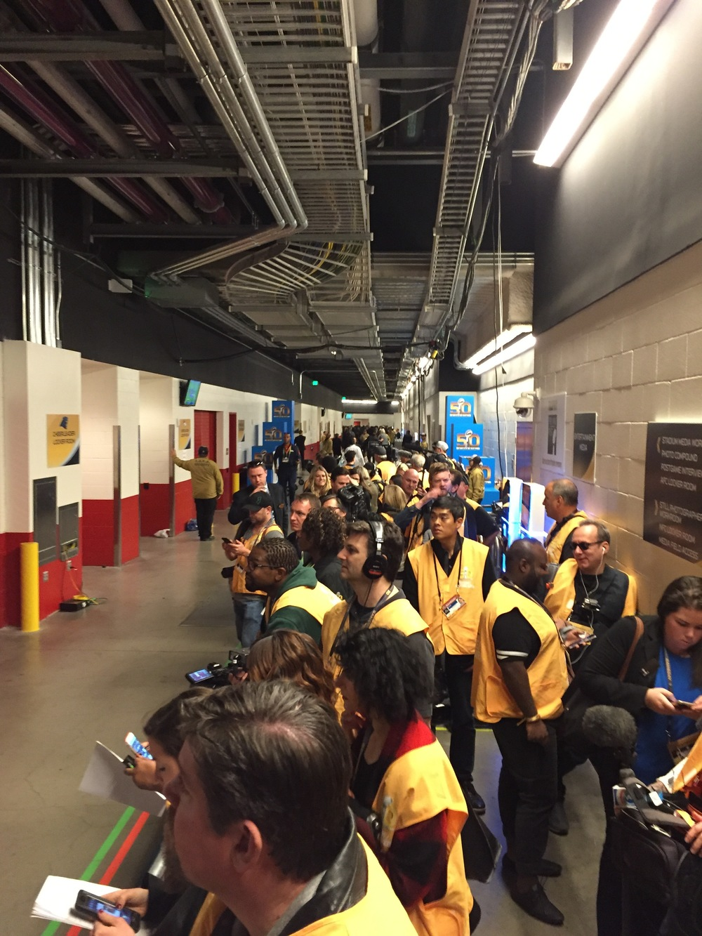 Crews waiting to go out for the Half-Time show at Super Bowl 50