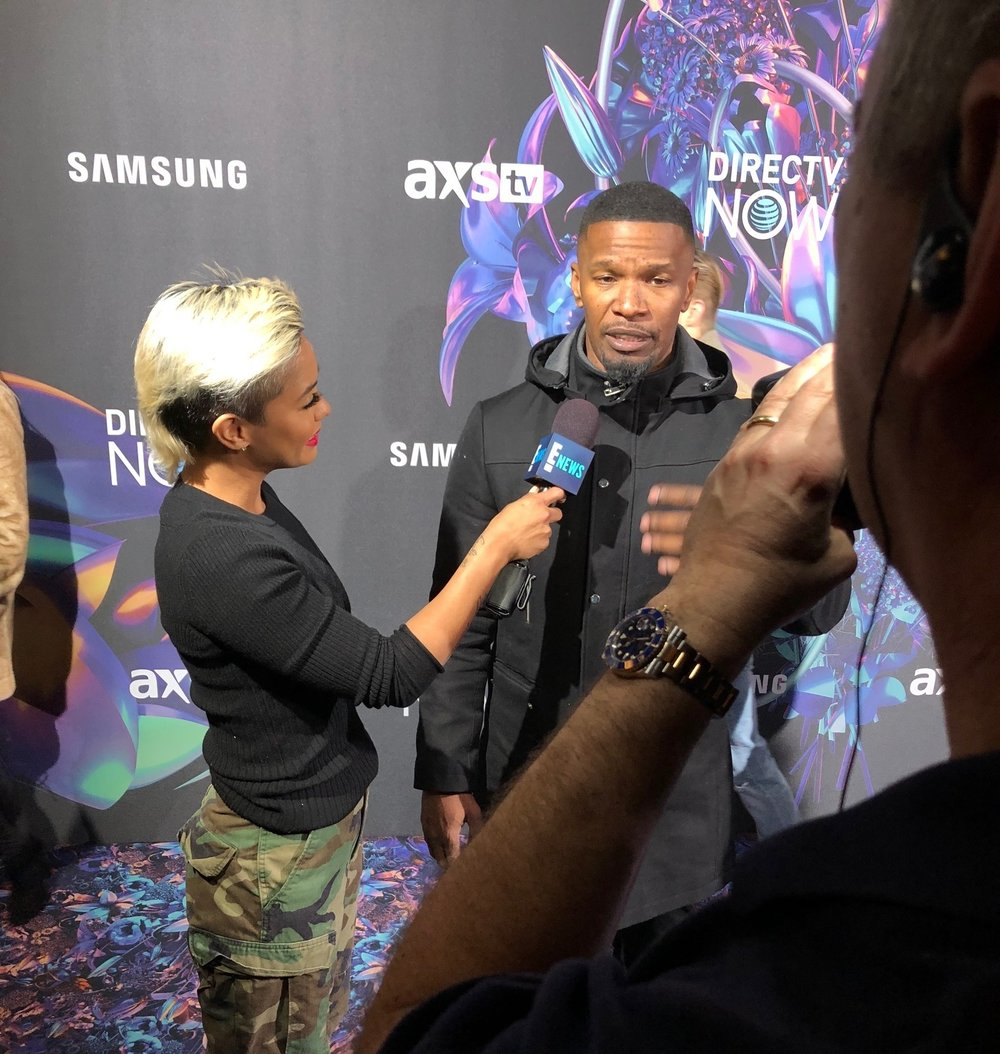 E! News Correspondent  Sibley Scoles  interviews Jamie Foxx during the Direct TV Party at Super Bowl 52.