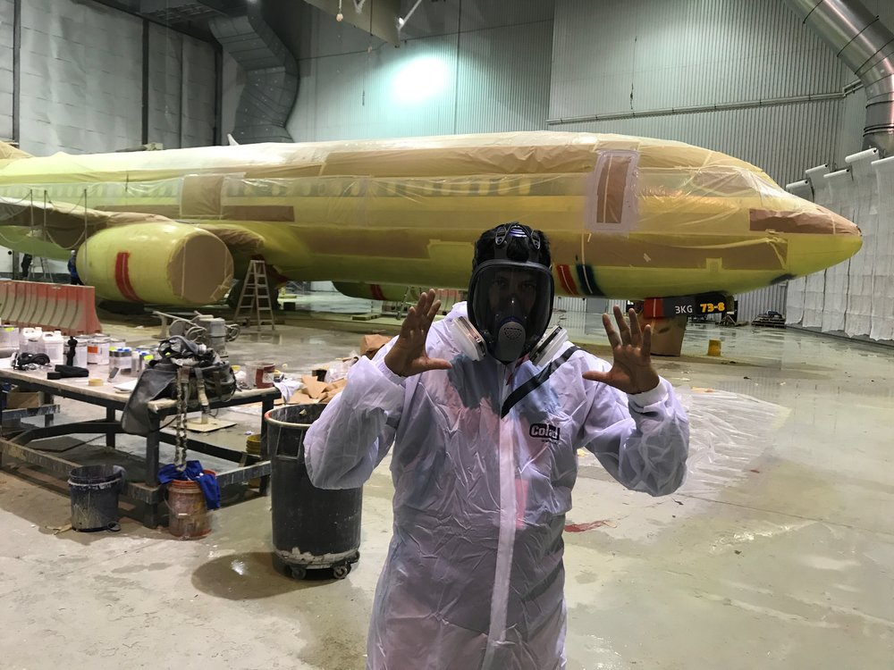Preparing to film an American Airlines plane being painted in a special hanger in Peru, Indiana.  We used 2 GoPros to film the time-lapse video around the clock over a 4 day period...over 80,000 images!  Click here  to see the final result!