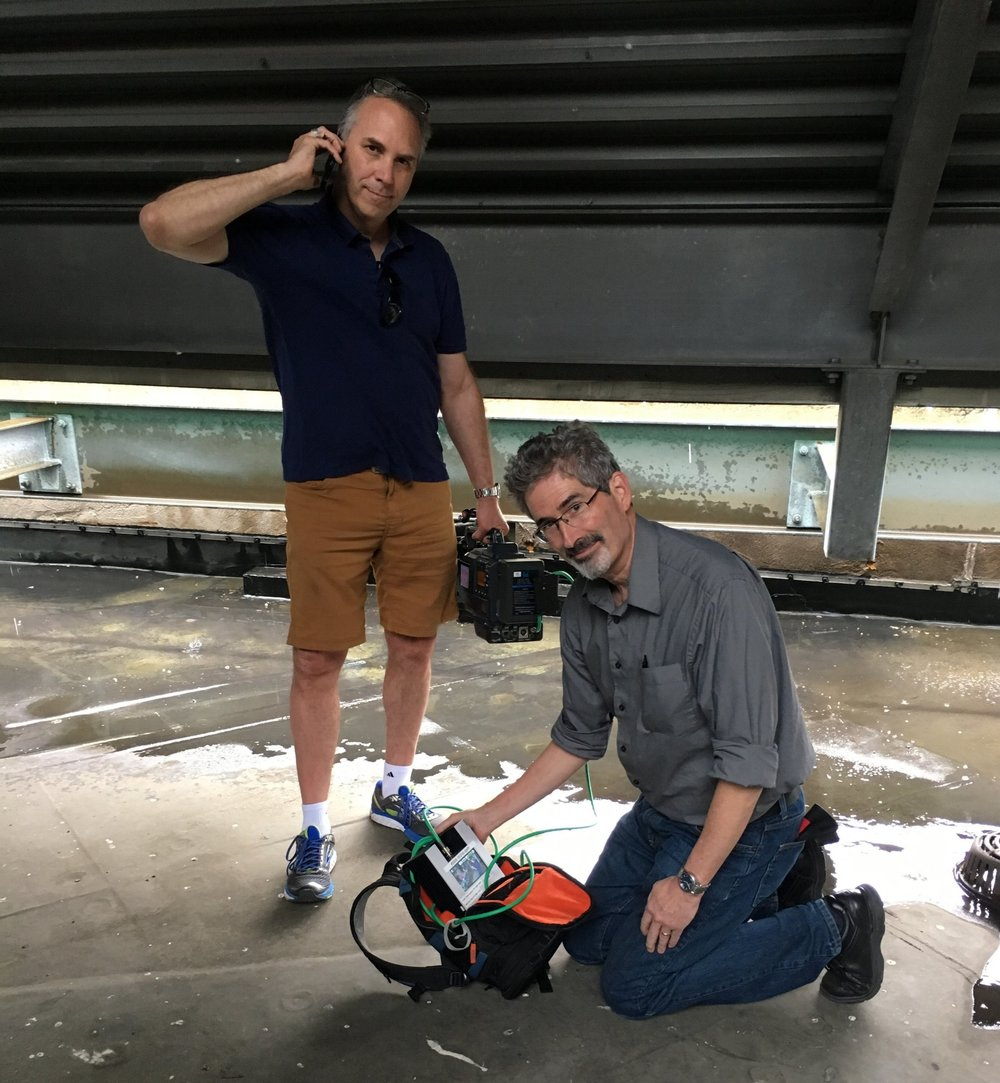 Improvise! - The LiveU is great in most situations, but not in a thunderstorm.  In this case, we are on a roof trying to get the best signal possible, with an NBC Nightly News deadline looming.