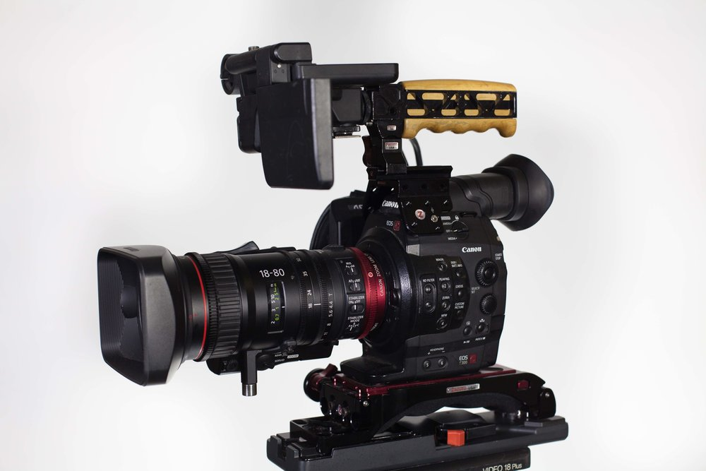 Canon EOS C300 - Still a fantastic camera, especially when paired with the Canon 18-80mm Servo Cine lens.