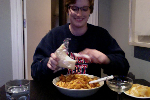 Friday night dinner selfie: spaghetti with bacon, potatoes, and onion. It was pretty yummy.