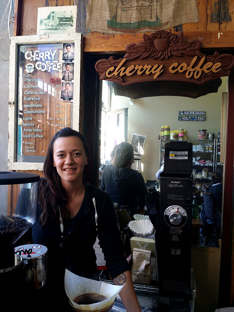 Lauren Fink of Cherry Coffee inside of Stein's Market - for now. Looking forward