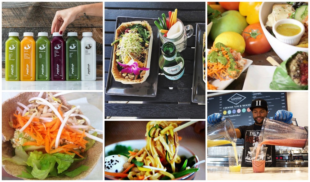 Photos from top left: JugoFresh, Temple Kitchen, Choices Cafe, Dr Smood, Last Carrot