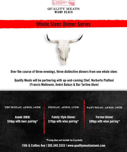 Quality Meats Miami Beach Whole Steer Dinner Series