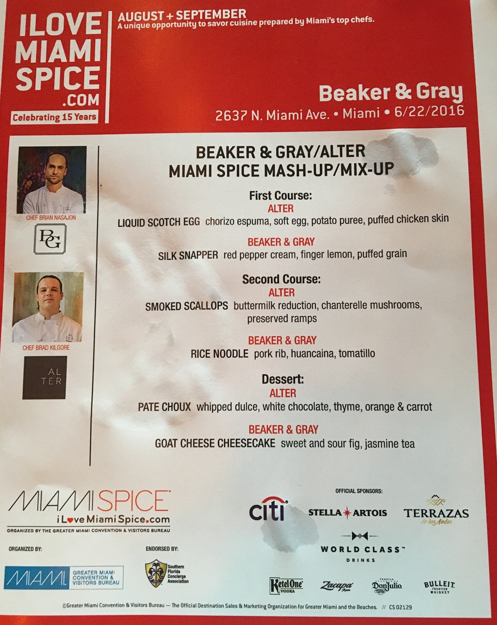 Miami Spice Mashup menu