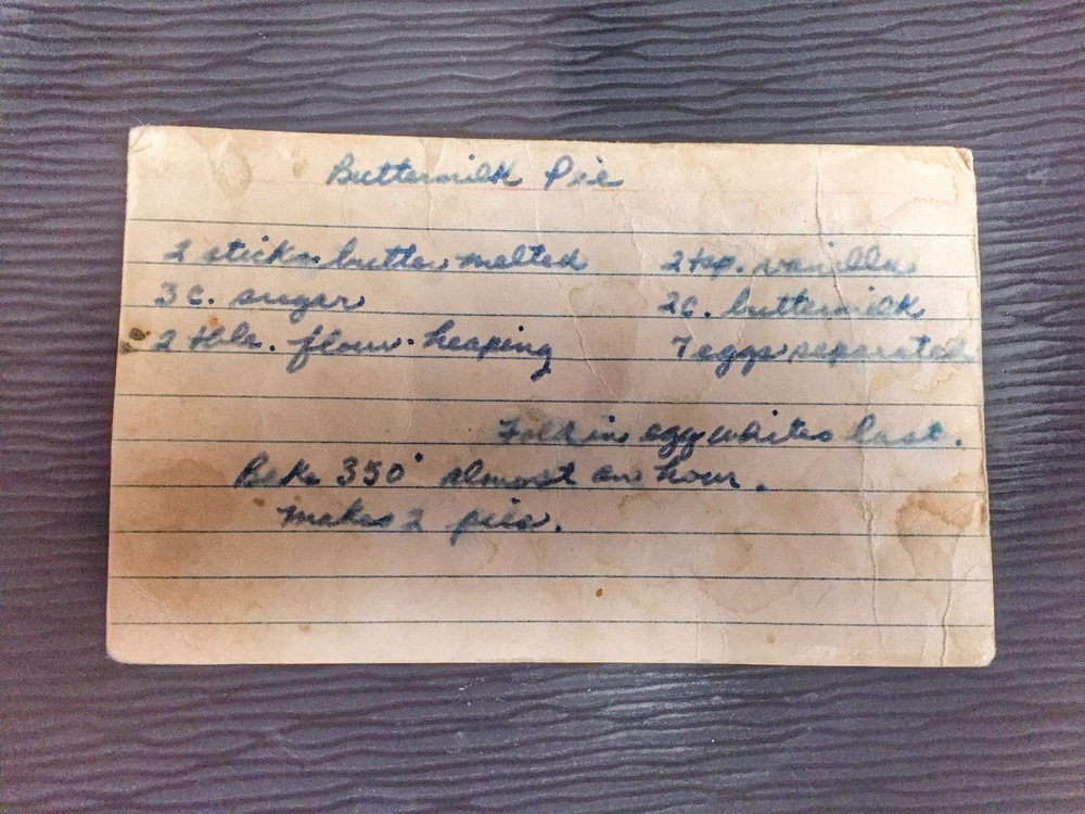 Grandma's Buttermilk Pie Recipe card