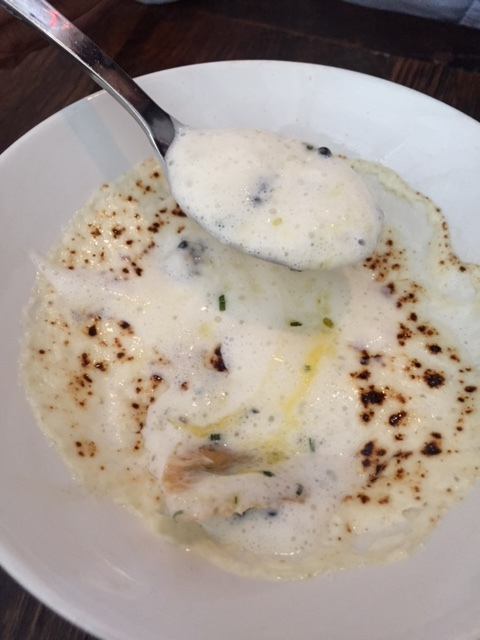 Alter Soft Egg with scallop espuma truffle pearls and gruyere.