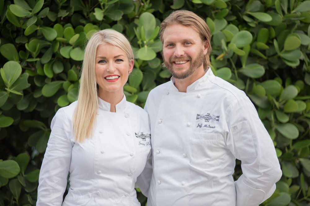 Chefs Jeff McIniss and Janine Booth of Sarsaparilla Club Miami Beach