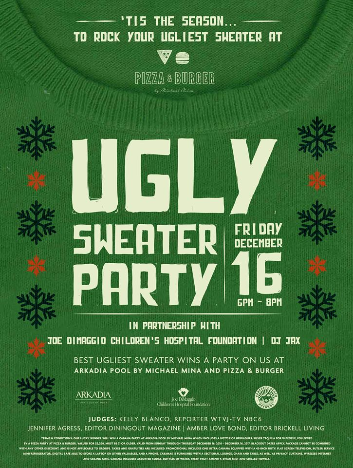 Ugly Christmas Sweater Party at Pizza & Burger Miami Fontainebleau
