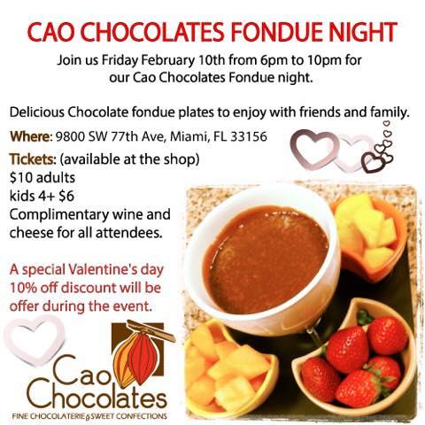 Cao Chocolates Miami Fondue Class