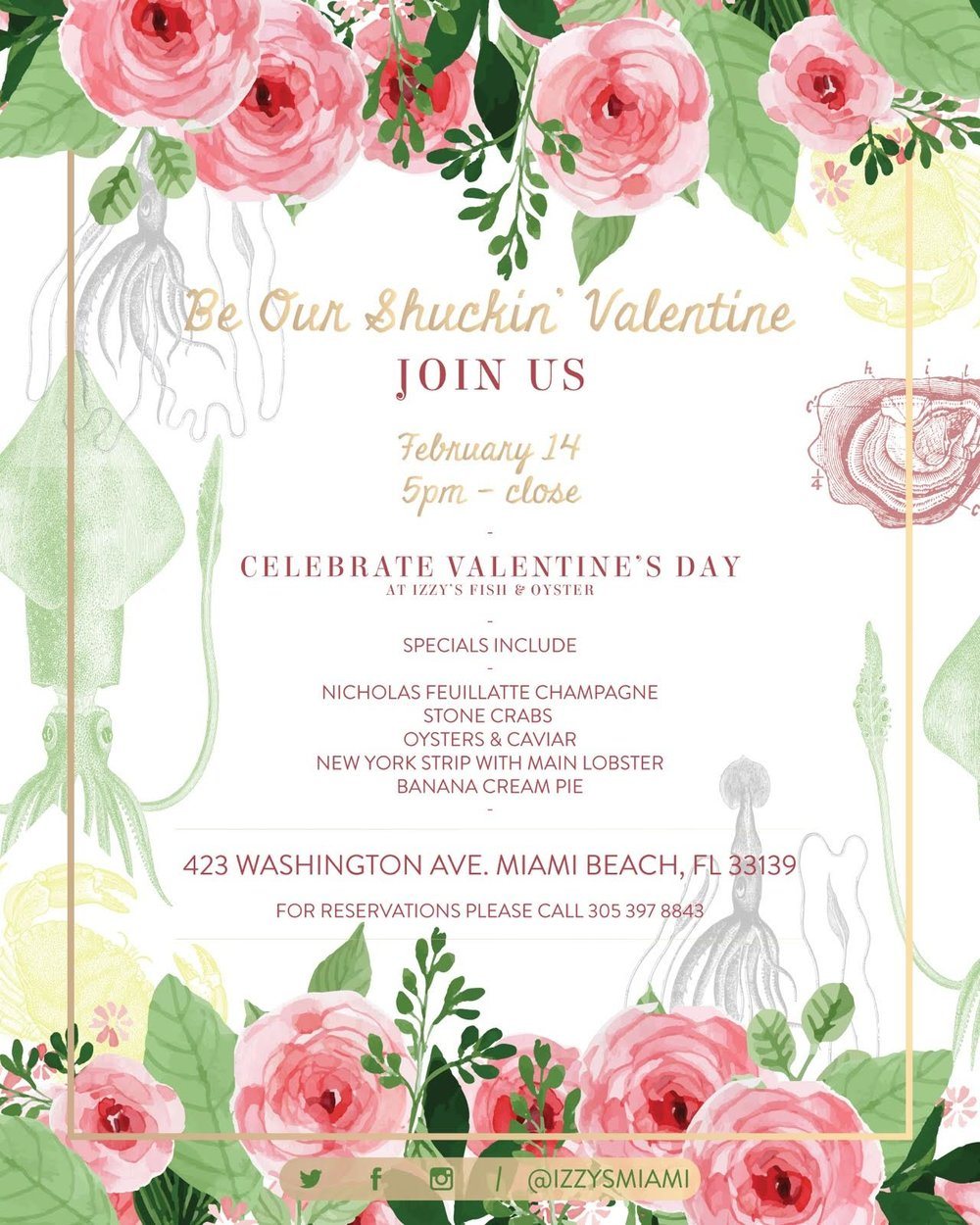 Izzy's MiAMI Valentines Brunch and Dinner
