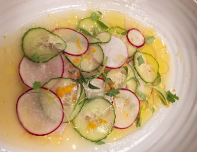 local crudo from glass and vine