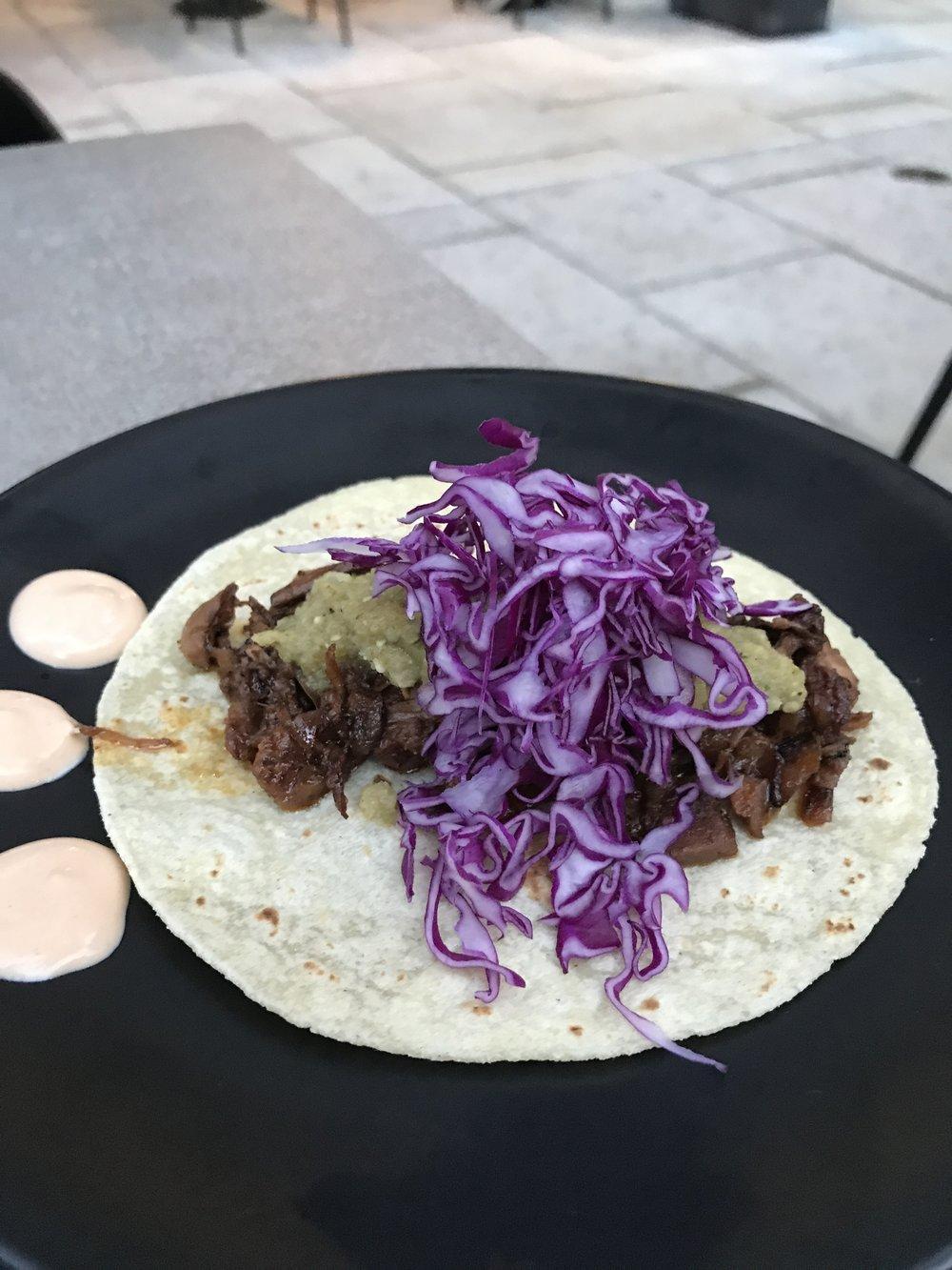 GLAM Vegan Miami jackfruit al pastor taco
