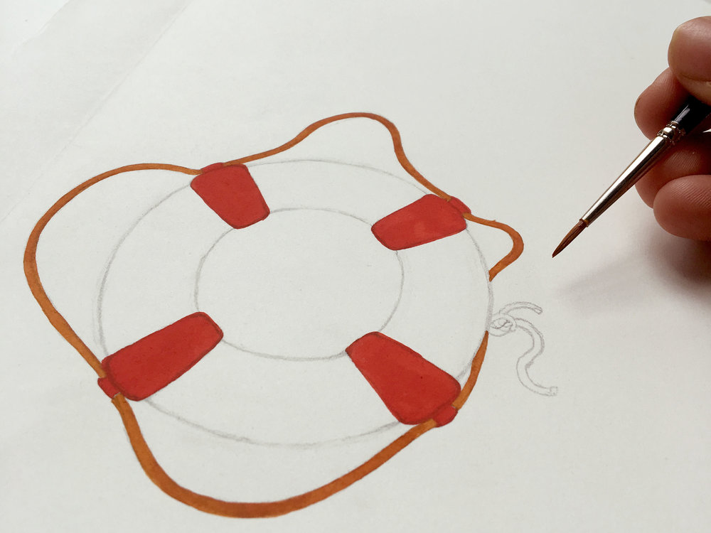 Close up detail of a life preserver illustration in progress