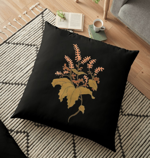 JV Floral Branch Pillow Black