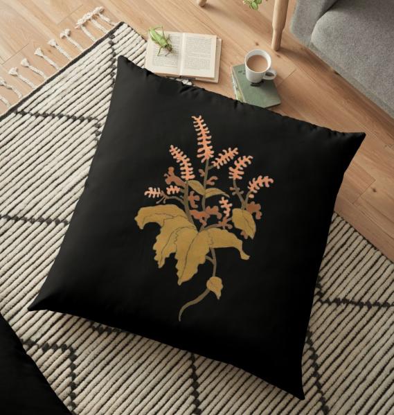 JV Floral Branch Pillow Black